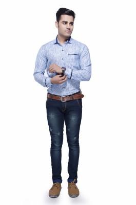 Jads Men's Graphic Print Casual Light Blue, Blue Shirt