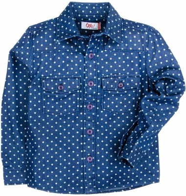 Oye Boy's Printed Casual Denim Light Blue Shirt