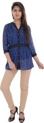 e-wa Women's Printed Casual Blue Shirt