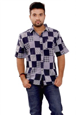 SML Men's Solid Casual Reversible Blue Shirt