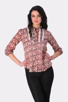 Rediscover Fashion Women's Printed Casual Pink Shirt