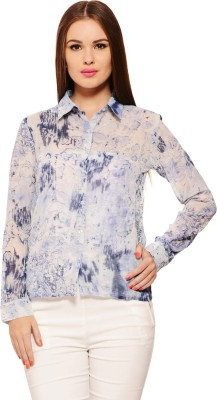 Feneto Women's Printed Casual Blue Shirt