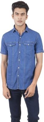 Vazir Men's Solid Casual, Lounge Wear Blue Shirt