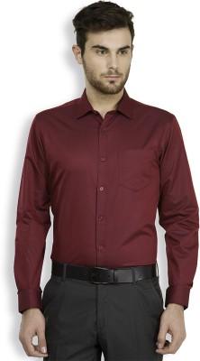 Mark Taylor Men's Solid Formal Maroon, Dark Blue Shirt