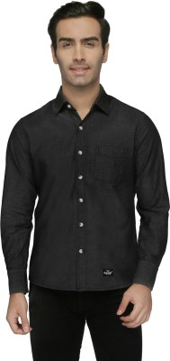 Again? Vintage Men's Solid Casual Black Shirt
