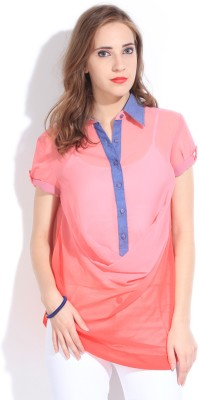 Remanika Women,s Solid Casual Pink Shirt