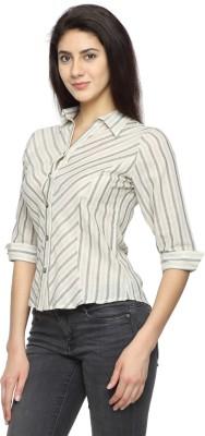 Texco Garments Women's Striped Casual Grey Shirt