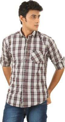 PraadoFashion Men's Checkered Casual Brown, White Shirt