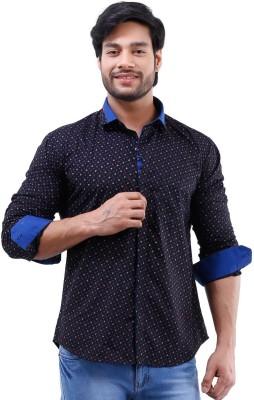 Lamode Men's Printed Casual Black, Blue Shirt