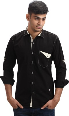 Fashion Bean Men's Solid Casual Black Shirt