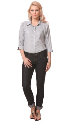Meee Women,s Striped Casual Black Shirt