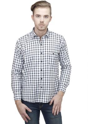 Unixx Men's Checkered Casual, Formal White Shirt