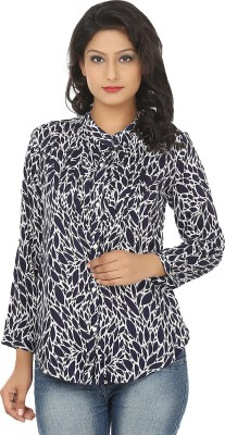 Adhaans Women,s Printed Casual Blue, White Shirt