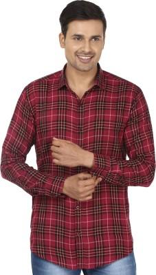 Edinwolf Men's Checkered Casual Maroon, Black Shirt