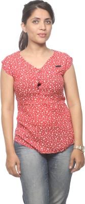 Spykar Women's Printed Casual Red Shirt