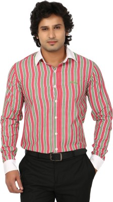 Blimey Men's Striped Formal Pink, Green, White Shirt