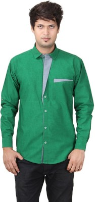 REFUEL SPORT Men's Solid Casual Green Shirt