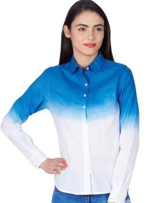 American Swan Women's Solid Formal Blue Shirt
