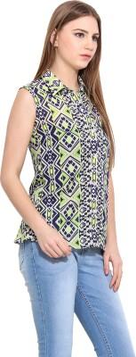 Desi Urban Women's Self Design Casual Green Shirt
