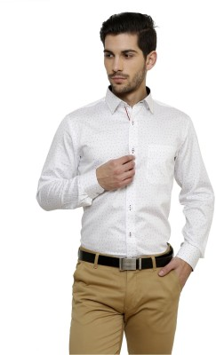 Miche Jeffer Men's Printed Casual White, Red Shirt