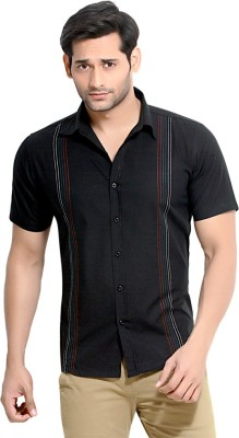 London Bee Men's Solid Casual Black Shirt