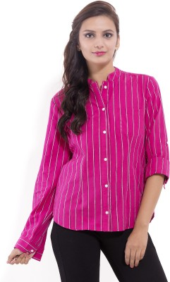 Goodwill Impex Women's Striped Formal Pink Shirt