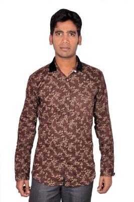 Royal Fashion Men's Floral Print Casual Brown Shirt