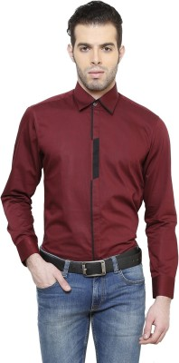 RICHARD COLE Men's Solid Formal Maroon Shirt