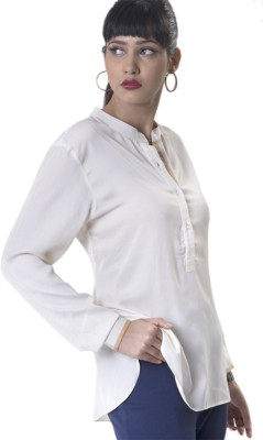 The Office Walk Women's Solid Formal White Shirt