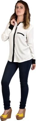 moda maze Women's Self Design Formal White, Black Shirt