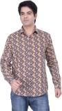HOH Men's Printed Casual Beige Shirt