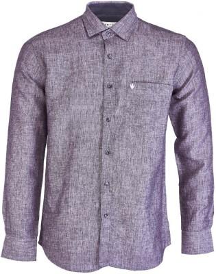 Nanya Men's Solid Casual Linen Purple Shirt