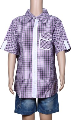 Chutti Pluss Baby Boy's Checkered Casual Beige Shirt