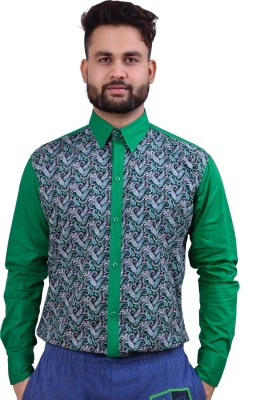 Home Shop Gift Men's Printed Casual Green Shirt