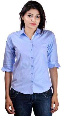 Shop Avenue Women's Solid Casual Light Blue Shirt