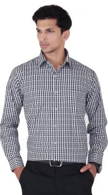 Cocablue Men's Checkered Formal Black, White Shirt