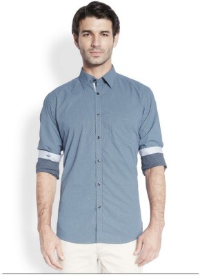 Park Avenue Men,s Printed Casual Dark Blue Shirt