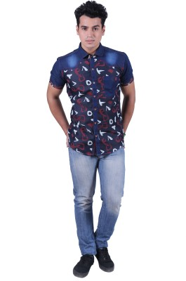 Re Fuel Sport Men's Printed Casual Dark Blue Shirt