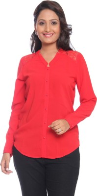 Park Avenue Women,s Solid Formal Red Shirt