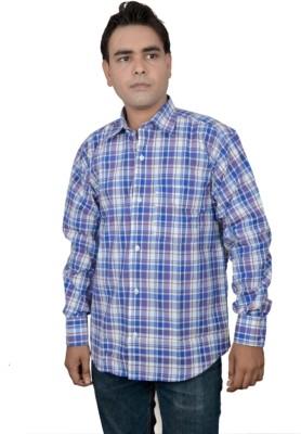 Jais Men's Checkered Casual Blue Shirt