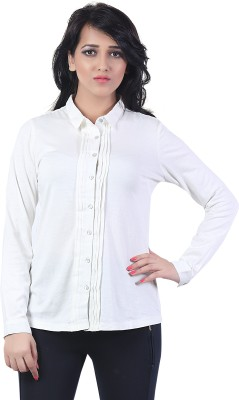 Bfly Women's Solid Casual White Shirt