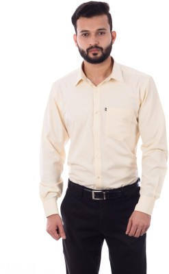 Cotton Treat Men's Solid Casual Yellow Shirt