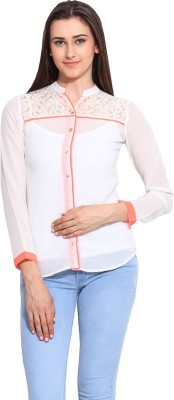 Mystree Women's Solid Casual White Shirt