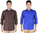 Yuva Men's Solid Casual Brown, Blue Shir...