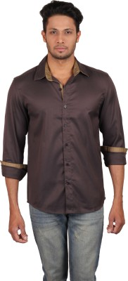 Lmfao Men's Solid Casual Brown Shirt