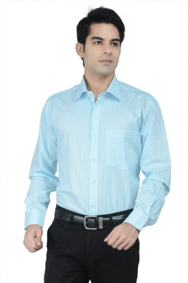 Alpha Centauri Men's Striped Formal Blue Shirt