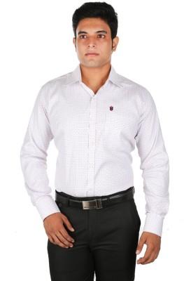 Relish Men's Checkered Formal White, Blue Shirt