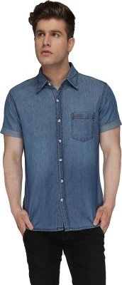 Again? Vintage Men's Solid Casual Blue Shirt
