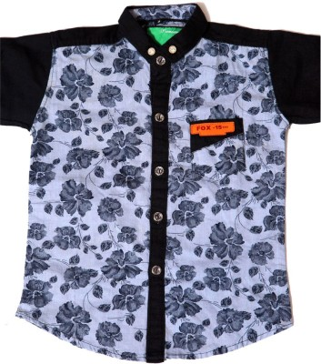 Kidicious Boy's Printed Casual Blue, Black Shirt