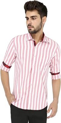 Zoro Auge Men's Striped Casual Pink, White Shirt